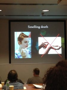 Image showing presentation slide, do's and don'ts when 'smelling death'