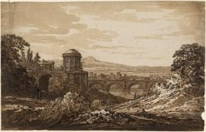 Landscape with Bridge, pen and brown ink with brown wash, UCL Art Museum 3751