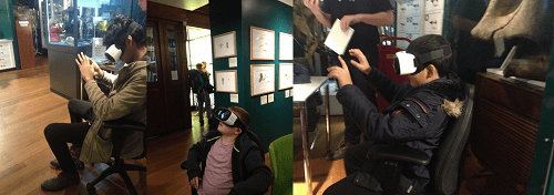 Visitors testing the new VR app in the Grant Museum