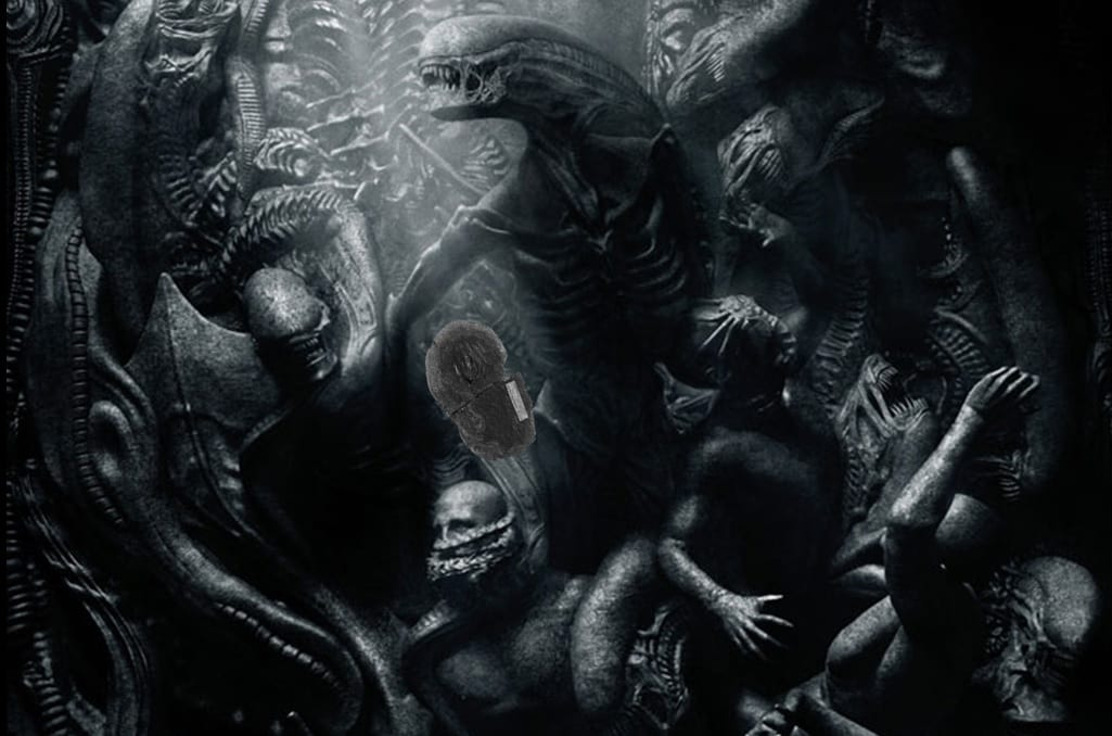 Close up of poster for the upcoming film Alien Covenant