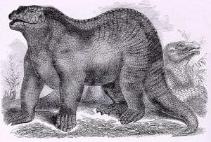 Goodrich's illustration based on Benjamin Waterhouse Hawkins' Iguanodon reconstruction 1859