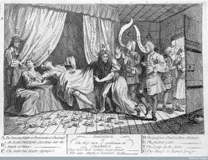 Mary Toft (Tofts) appearing to give birth to rabbits in the presence of several surgeons and man-midwives sent from London to examine her, 1726, by William Hogarth (C) Wellcome Library, London