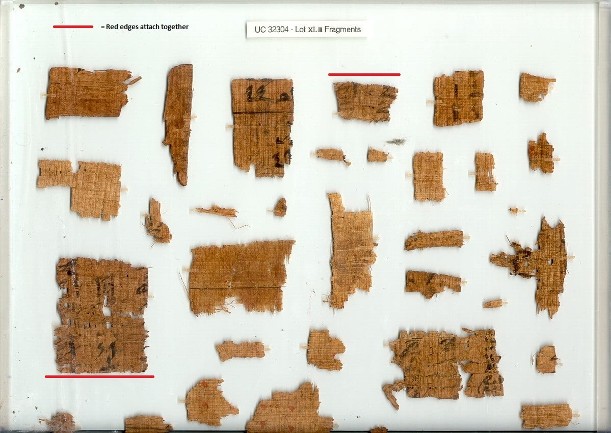 Papyri fragments of UC32304i with red lines indicating edges that fit together