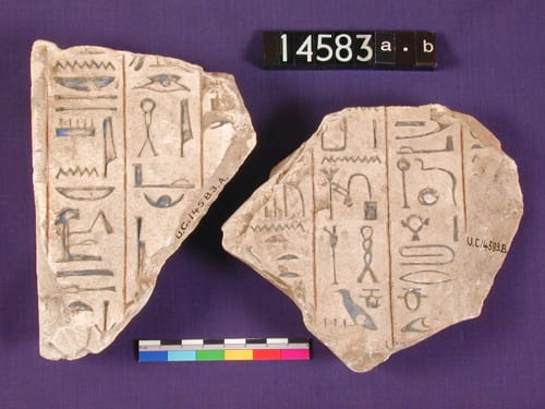 Limestone stela hieroglyph fragments with words from hymns (UC14583)