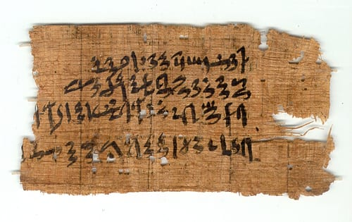 Hieratic papyrus note about stores (UC32180)