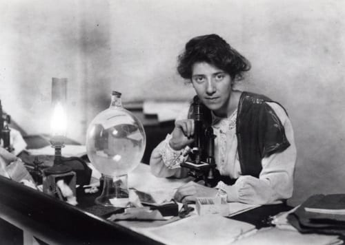 Marie Stopes in her laboratory