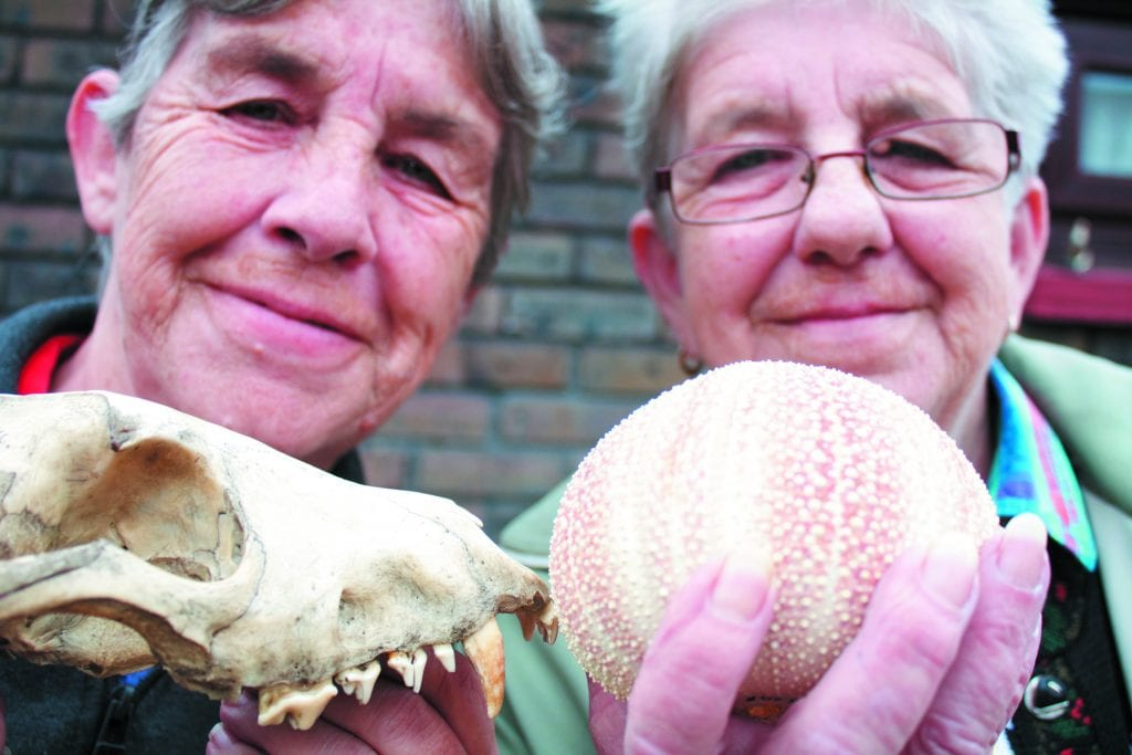 Colour photo of two older people holding up zoological specimens in the foreground