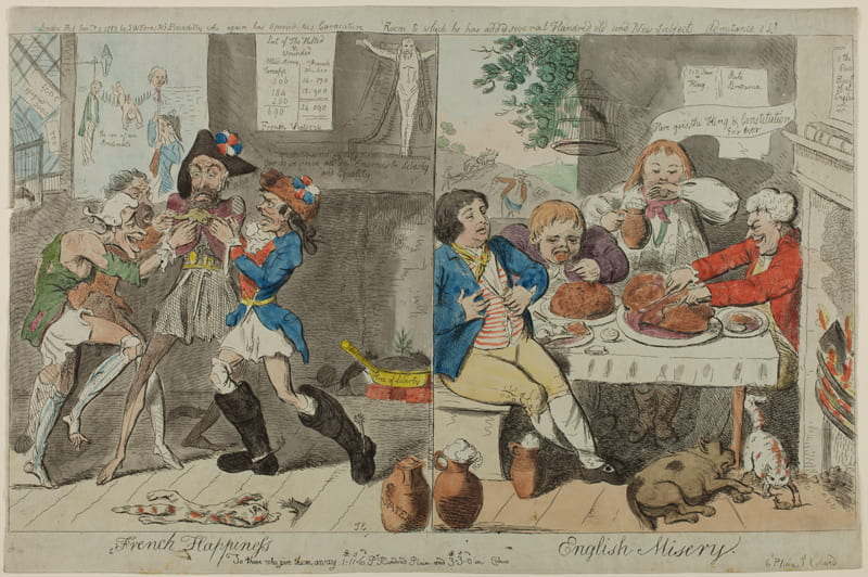 contrasted images of life in France and Britain during the French Revolution