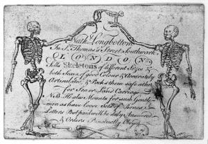 Trade-card of Nathaniel Longbottom, supplier of skeletons