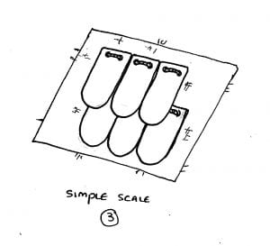 diagram of the scales now laid overlapping and attached to a lining in the simplest fashion