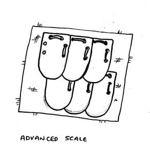 diagram of more advanced scale where the scales have 4 additional holes punched, two on each side to attach them to the neighbouring scale