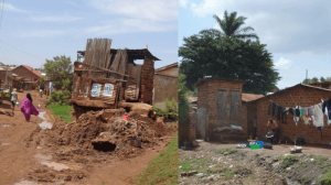 Raised toilets in slum communities in Kampala – these are normally shared between 4 or more families