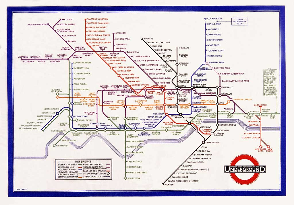 original 1931 tube map by harry beck