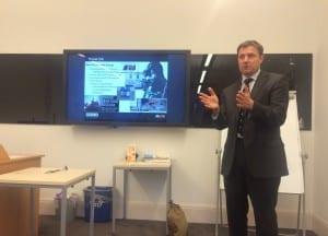 Hamish de Bretton-Gordon in the middle of his presentation