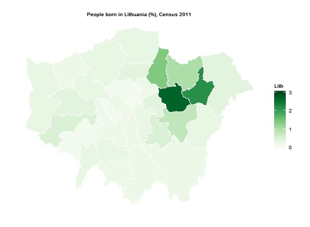 Lithuanian born residents by London borough