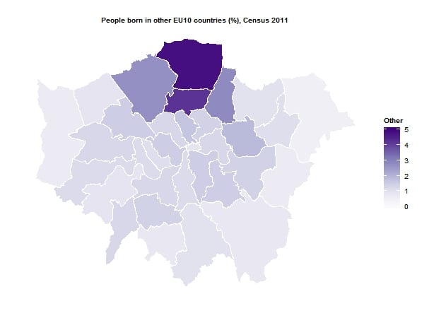 People born in other EU10 by London borough