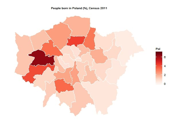 Polish born residents of London by borough
