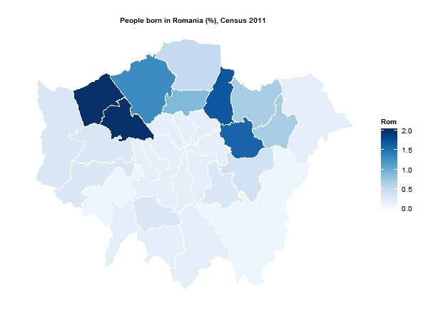 Romanian born population by London borough