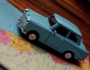 Toy Trabant on map