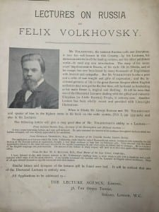 Advertisement for a lecture by Volkhovskii, from the LSE archives