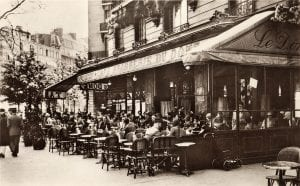 OPL1153075 Brasserie Cafe du Dome, Paris, 1920 (b/w photo) by French Photographer, (20th century); Private Collection; French, out of copyright