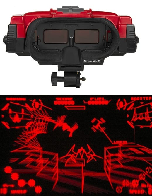 Virtual Boy by Nintendo and a screenshot of a game. Released 1995.