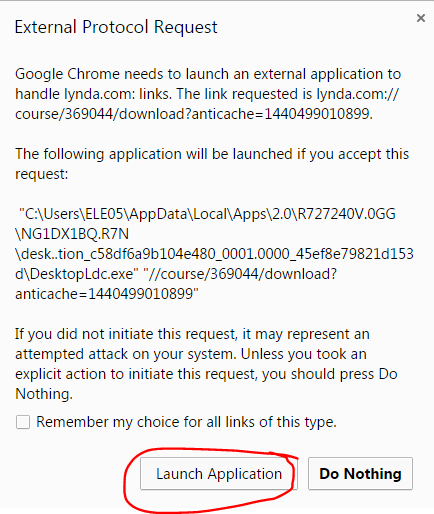 Chrome popup for launching external app-circled