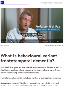 Step 2.2 from the Many Faces of Dementia - Tim Shakespeare's FutureLearn Mooc