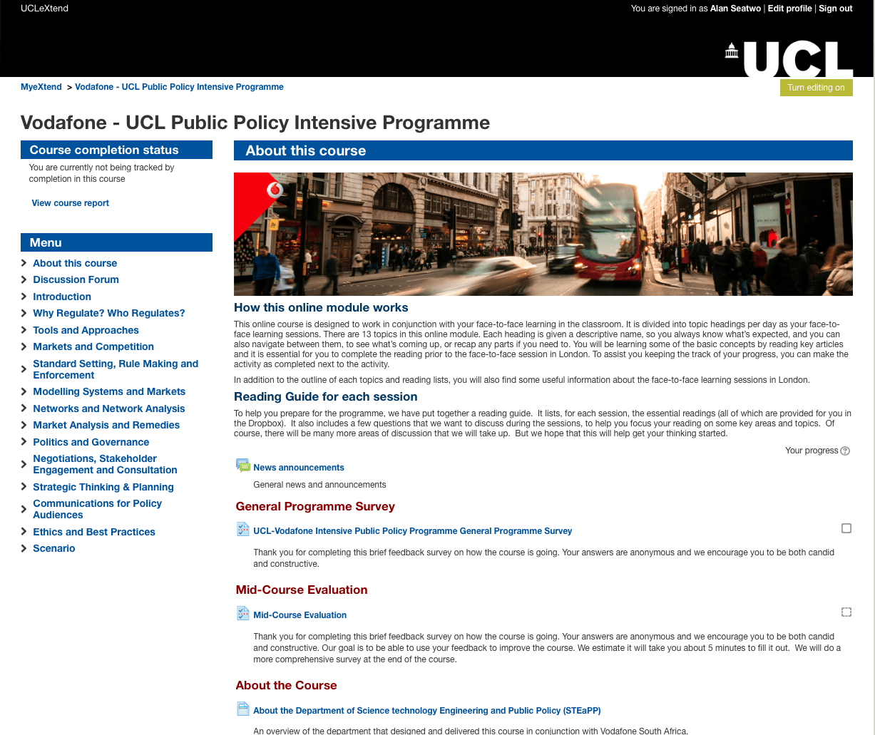 Vodafone UCL Public Policy Intensive Programme UCL eXtend course