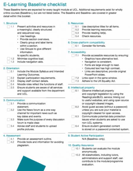 E-Learning Baseline checklist