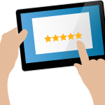 Drawing of a tablet with 5 stars