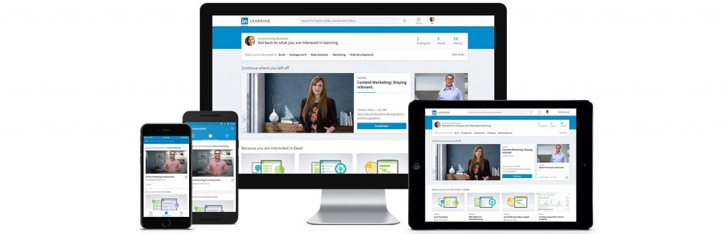 LinkedIn Learning displayed on monitor, mobile phones and a tablet.