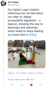 Screenshot of tweet by Kris Rogers showing workshop Lego model