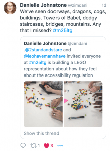 Tweet by Danielle Johnstone describing some of the Lego activity outcomes.