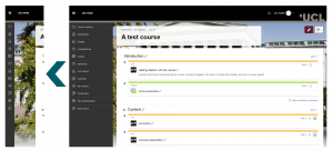 Screenshot of new course layout with expanded and collapsed navigation bar shown