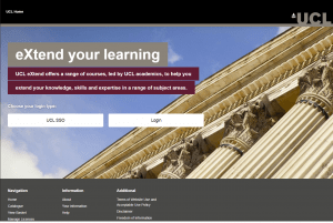 Screenshot of updated UCLeXtend homepage, with photograph of UCL Portico in background and log in buttons visible