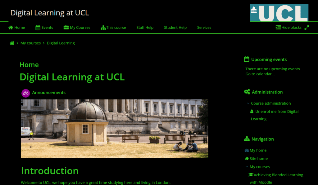 Moodle platform where 'Green text on a black background' colour scheme has been selected via the Accessibility Tool.