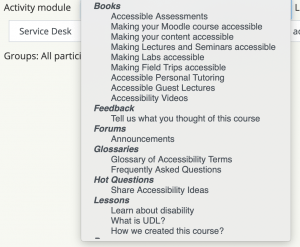 Activity Module list for Course participation report illustrating inclusion of Books and Lessons in addition to Forums and Quizzes