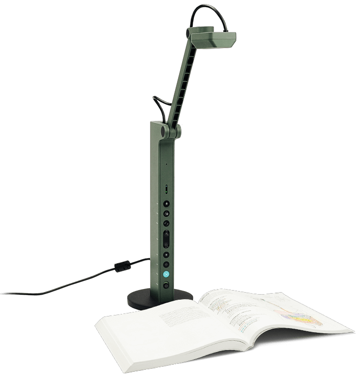 The IPEVO VZ-R visualiser - a sturdy base with a webcam mounted on a flexible hinge.