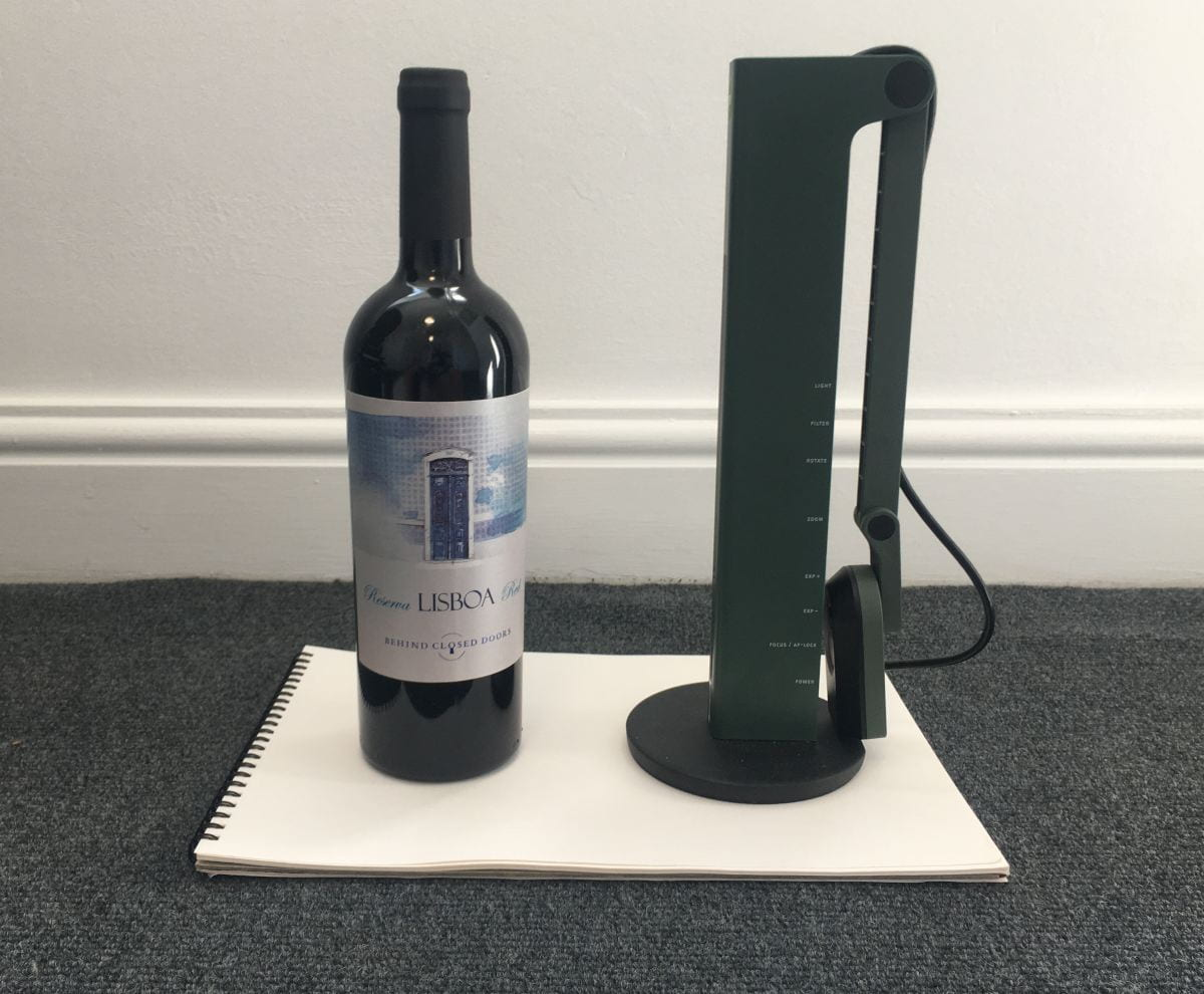 An IPEVO VZ-R is about the size of a bottle of wine when folded