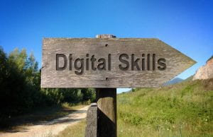 Signpost with 'Digital Skills' written on it