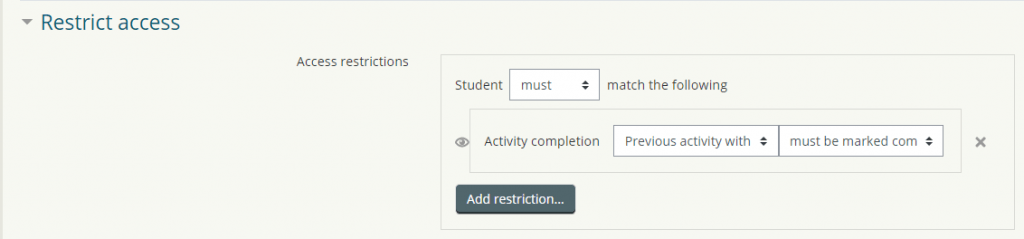 Moodle activity completion