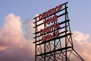 """Neon sign which reads """"Develop your Digital Skills"""""""