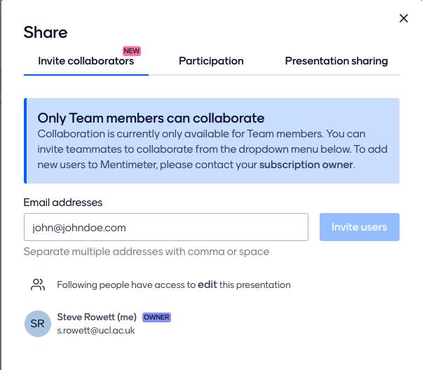 Option to 'Invite Collaborators' in Mentimeter
