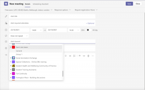 Screen shot showing how to add a Team channel to a meeting
