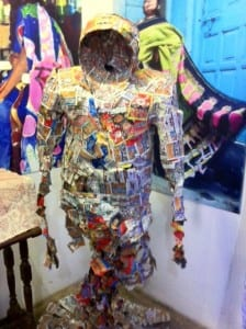 "Made from tobacco packets, the Dharavi Art Biennale Sculpture ""Hollow Man"" shows how smoking hollows out the inside of a person"