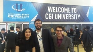 UCL students Naomi Poyser, Mujavid Bukhari and Francisco Cordoba Ortalora at CGI U