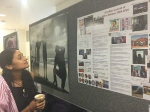 Dr Kamna Patel looking at the poster boards