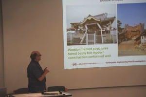 Professor Peter Sammonds presenting during the symposium