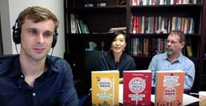 Tom McDonald, Xinyuan Wang and Daniel Miller at the online book launch